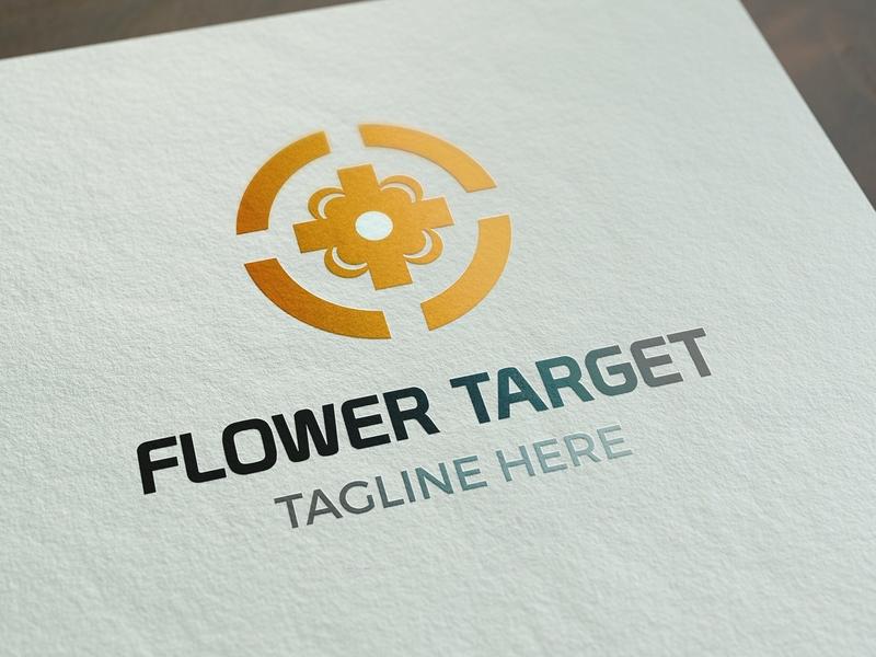 Flower Target Logo Template targets flower icon ux vector illustration logo ui elegant red design psd