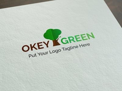 Okey Green Logo Template tree brown green nature ui logo elegant psd