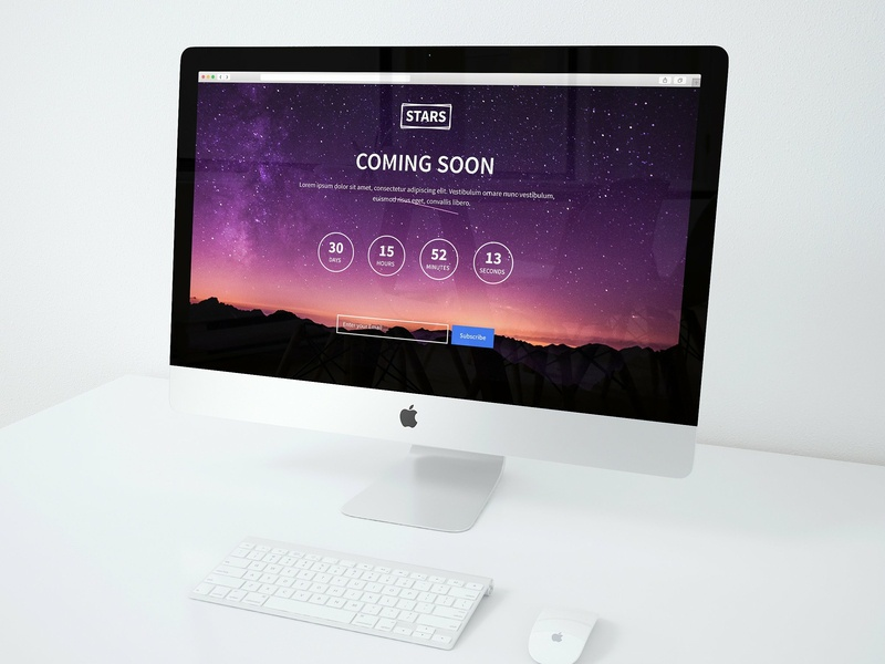 Stars Coming Soon Page Template website coming soon coming soon page coming soon typography branding ux web layout illustration webdesign elegant ui design psd website