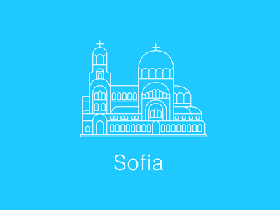 Alexander Nevsky Cathedral building sofia bulgaria illustration line europe cathedral church