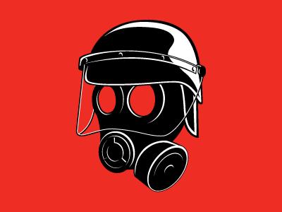 Secret Project #1 helmet police cops gas mask mask illustration vector monochrome riot protest