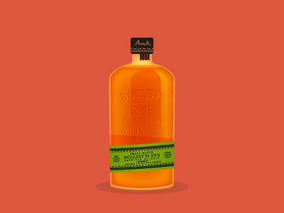 Bulleit Rye illustration illustrator bottle liquor bulleit bourbon rye whiskey