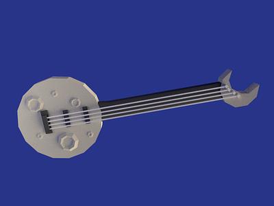 Moon Bass lowpoly bass guitar moon