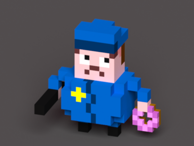 Cop with Club and Donut magicavoxel lowpoly voxel donut cop