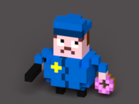 Cop with Club and Donut
