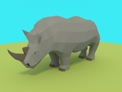 Low Poly Rhino rhinoceros rhino blender low poly