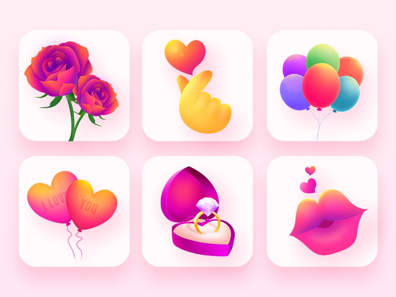Valentine's Day icon valentines day kiss hand rose red pink precious the balloon diamond love flower beautiful icon ux color illustrations design visual gui ui