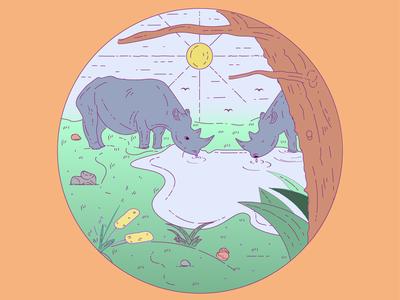 Rhino landscape vector