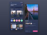 Travel App Design Concept UI Dark Mode