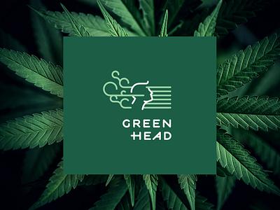 Green Head - CBD store minimal indica sativa marijuana thc cbd cbd oil head green branding
