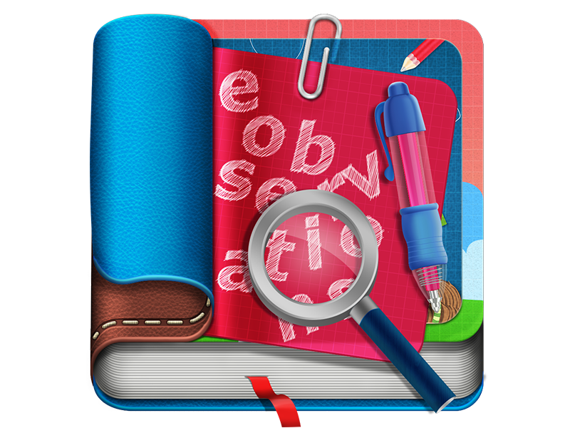 App Icon iphone icon ios icon book leather magnifying glass pen illustration app icon book icon