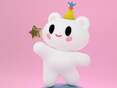 Сute BEAR ⭐️ - 3D illustration blender anime white dream sweet animal character graphic design illustration star pink bear 3d cute