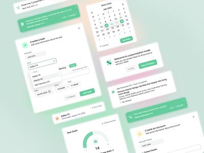 Salesdash UI Elements 🔘 components saas salesdash ui web design figma roboto target calendar task deal green window modal activity dashboard crm vindar