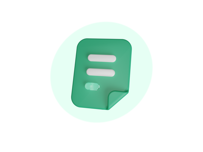 Notes 3d Icon ✏️ branding paper document report icons crm salesdash illustration green cycles glass cinema 4d notes note icon blender 3d vindar