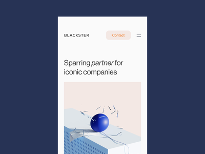 Mobile Version — Blackster Capital carousel footer turnaround early-stage canvas animation capital blackster web design mobile figma acumin neue haas grotesk corporate scroll 3d orange blue investment vindar