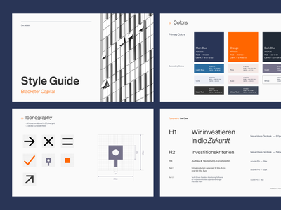 Style Guide — Blackster Capital icon typography style guide guidelines identity design system corporate identity visual identity brand book guidebook presentation design presentation input capital branding unsplash figma corporate investment vindar