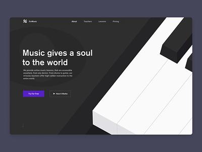 Online Music Lessons Website figma vindar concept piano isometric purple dark black classes bemusic music course lessons online web design ux ui illustration