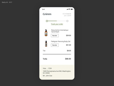 Daily UI Challenge #017 - Email Receipt - Take2