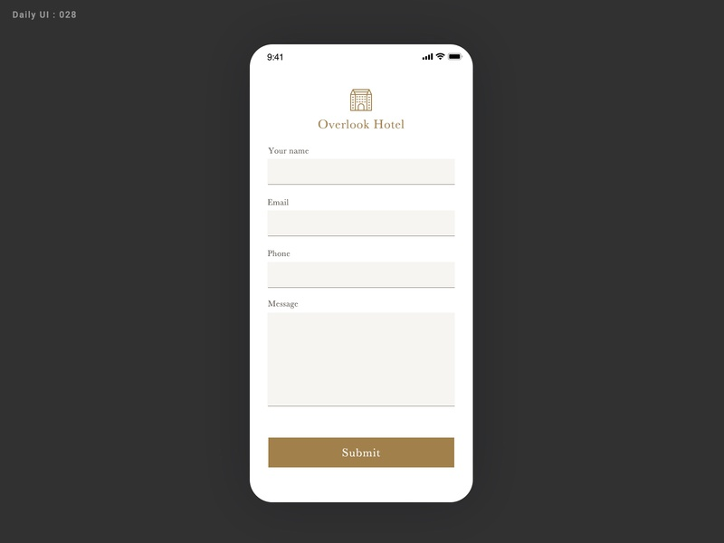 Daily UI Challenge #028 - Contact Us ui hotel contact form contact us contact 028 daily ui dailyui