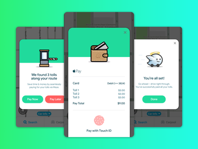 Waze Toll Solution in app payment payments toll app design waze native ux ios ui