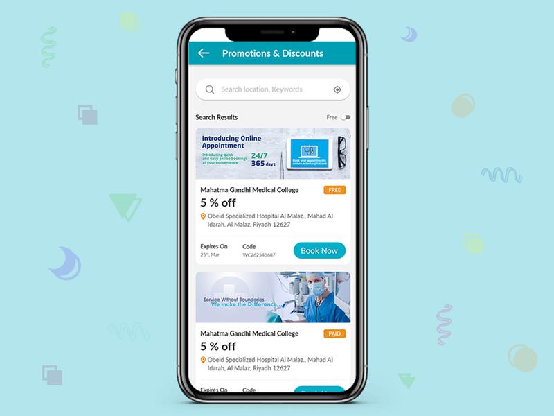 Promotion and discount list design app screen. custom list app concept app design app ui