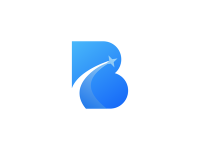 B Sky blue startup b logo marketing clean star sky minimal mark logos agency logo app icon symbol company logo simple logo design icon branding logo