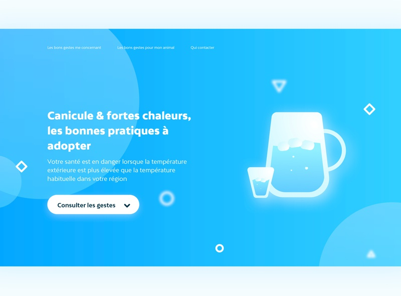 Canicule | UI Design project graphic  design illustrations atomic design mahdi berlingen micro interaction emotional design blue design inspiration wet ui design sun ui design water ui design blue ui design ui design inspiration ux design ui design
