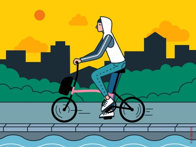 Riding picture drawing brompton illust design illustrator illustraion graphicdesign graphic bbanskim bbans