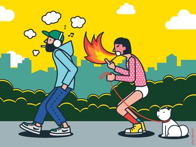 Don't smoke while walking!
