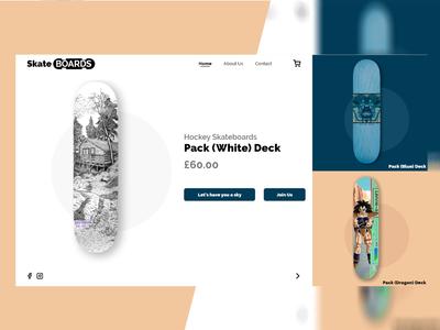 Skateboards landing page website