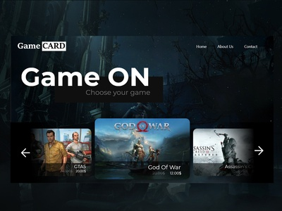 landing page for game stor website
