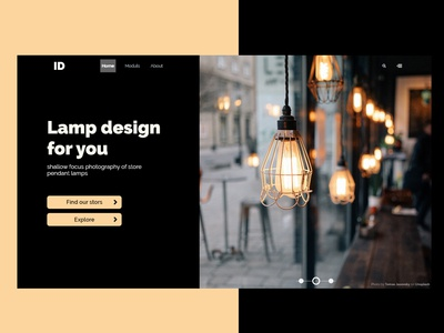 landing page for lamp design stor