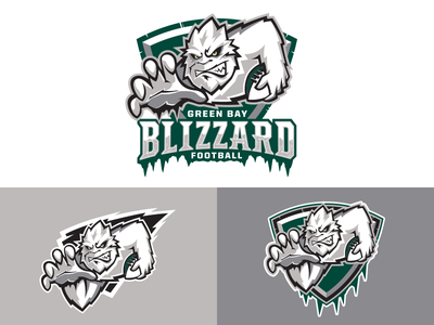 Green Bay Blizzard blizzard logo football ifl green bay yeti snow