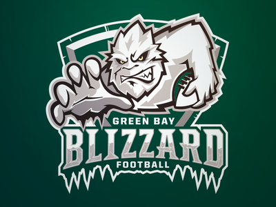 Green Bay Blizzard Football - Primary yeti football sports logo blizzard ifl green bay