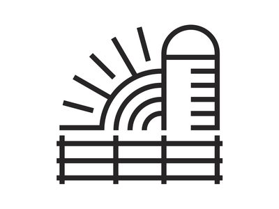 The Farm Icon journey logodesign community silo sunrise farm monoline icon logo