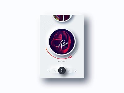 Neuomorphic  music player ux flat design clean ui daftpunk play songs visual design ui player mockup neumorphism neumorphic cards ui music player music app interface design