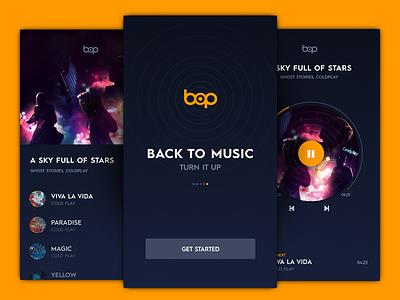 Bop Music - Comeback play playlist interface freebie sketch app flat dark ui mobile app player music bop