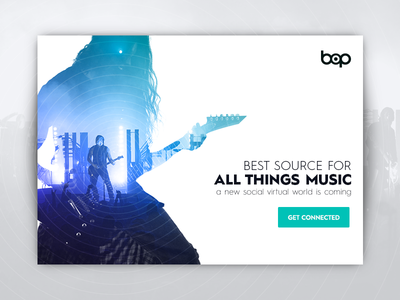 Daily UI #1 - Bop Music comeback  play user interface mobile app signup bop landing screen player interface double exposure website music daily