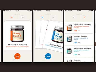 Ustraa iOS mobile app - DailyUI design ux ui interface ios mobile app ustra dailyui iphone ui kit freebie sketchapp