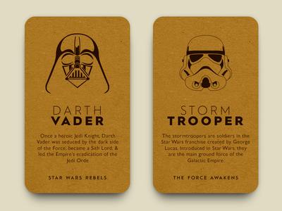 Daily UI #045- info card #dailyui #045 cardboard movies storm trooper darth vander info card vector ux ui illustrations design dailyui starwars