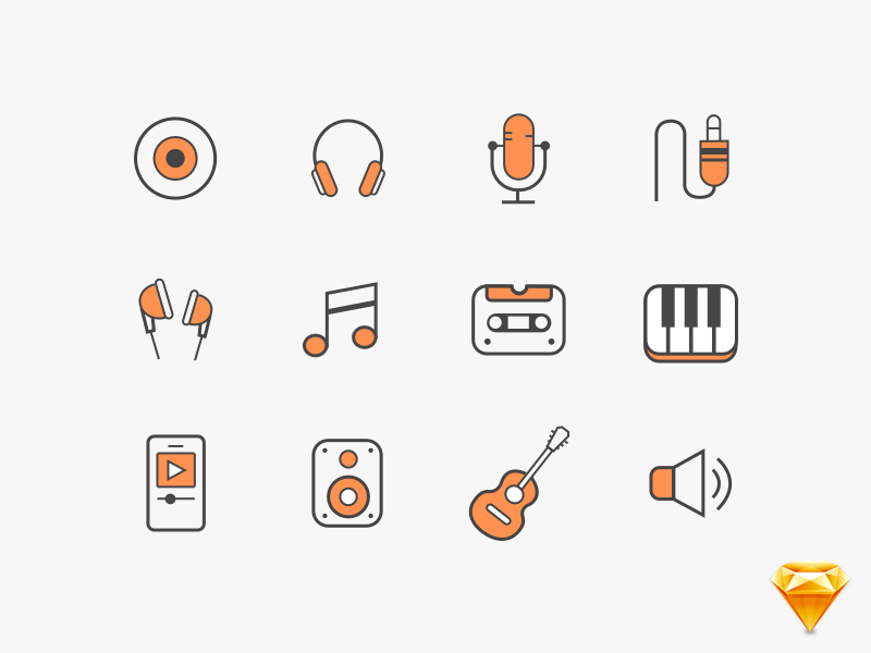 Music vector sketchapp Icons ai design flat icons line gif illustration guitar icons vector music sketchapp freebie
