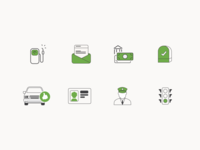 line icons for travel and insurance