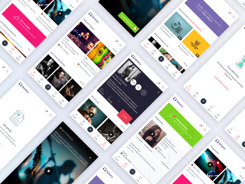 Tenory Mobile App  dailyui interaction ui ux interface asymmetric community profile music android ios app mobile