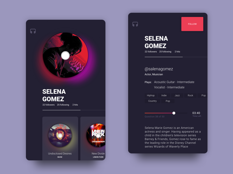 Musician Profile And Bio community ux ui interface dailyui design android ios mobile app profile music salena gomez