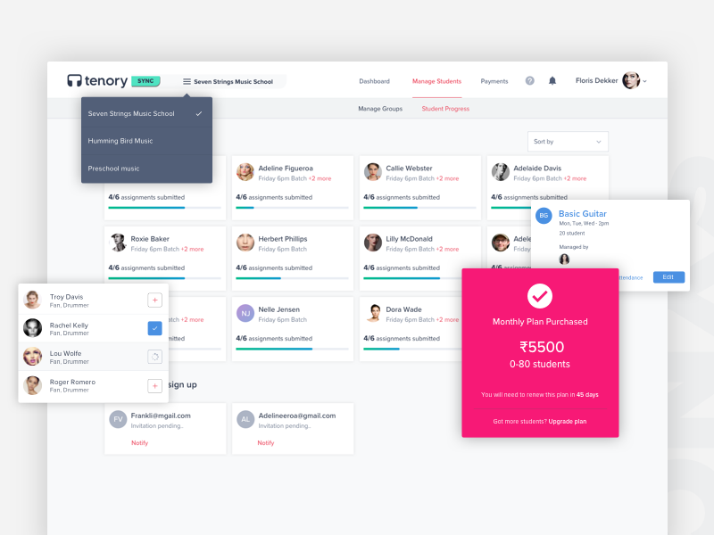 TenorySync Creative Class Management Software payment subscription student web design user dashboard tenory ui search profile dashboard admin class