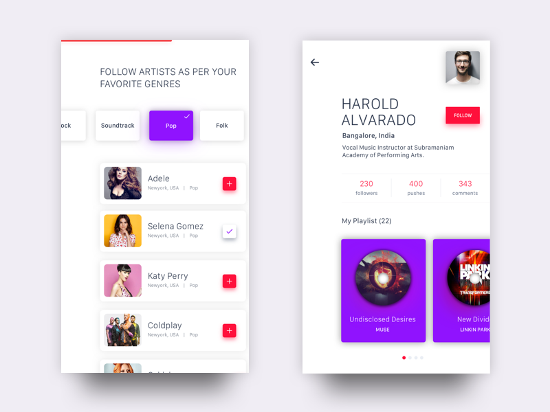 Onborading And User Music Profile  flat design artist follow mobile ux ui interface tenory music profile onboarding