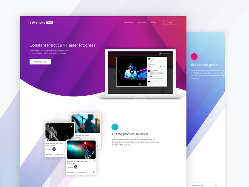 How It Works   Tenory Homepage flat video landing tenory classroom admin dashboard mockup interaction ui ux design website homepage