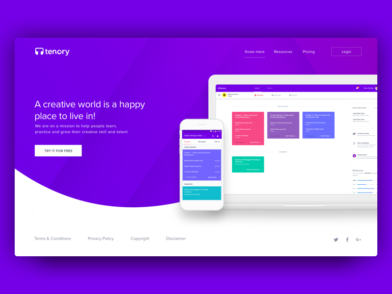 Tenory consumer landing website student practice learning interface design creative ui ux management class website design music tenory