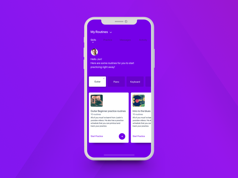 Tenory Music Profile routine selection mobile profile ux ios interface design music flat ui skills iphone x cards design tenory