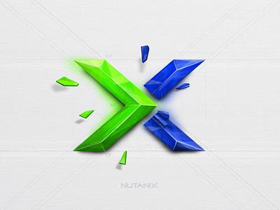 Nutanix logo design dailyui vector icon crystal cloud design illustration branding logo prism nutanix 3d